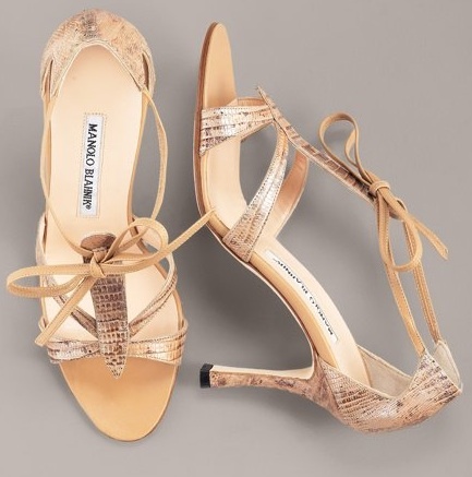 Manolo Blahnik Snakeskin Sandal - Source: BergdorfGoodman.com