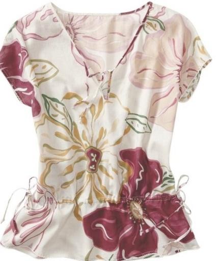 Pink Floral Drawstring Top - Oldnavy.com