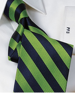 Navy Blue/Green Silk Tie. Source: PaulFrederick.com