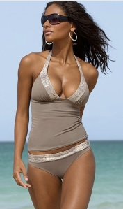 Victoria Secret Faux Python Trim Push-Up Halter Tankini Top
