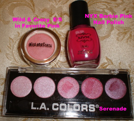 NYX Nail Polish in Barbie Pink, Wild & Crazy Eye Shadow in Favorite Pink, and LA Colors Metallic in Serenade