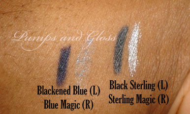 Milani Black Magic liner and Eye Glimmer Swatches (Blue and Black)
