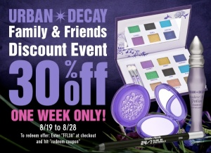 Urban Decay Family and Friends Coupon Code - FFL30
