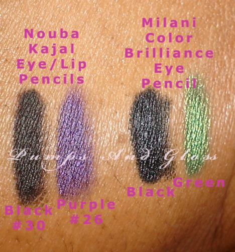 Nouba Eye Liners (Black #30 and Purple #26) - Milani Color Brilliance Eye Pencils (Black and Green)