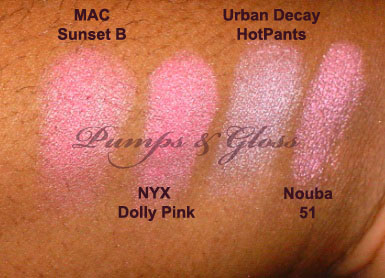 MAC Sunset B, NYX Dolly Pink, Urban Decay HotPants, Nouba 51